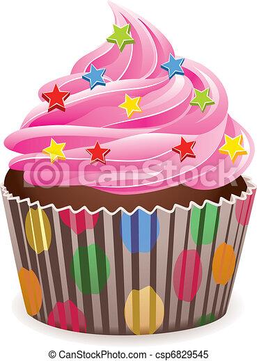 pink cupcake - csp6829545