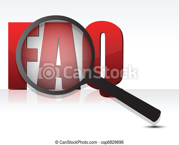 FAQ sign enlarged by a magnifying - csp6829696