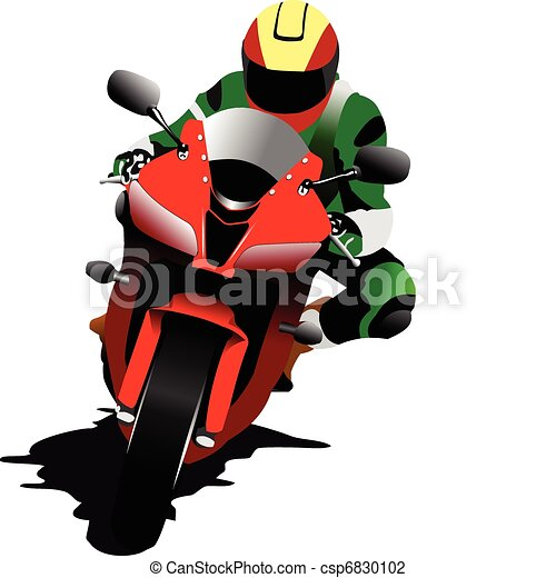 Biker on the road. Vector illustra - csp6830102