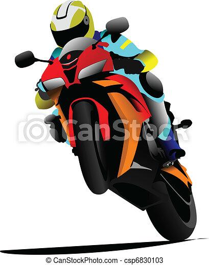 Biker on the road. Vector illustra - csp6830103