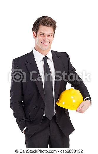 homem negócios, capacete segurança - csp6830132