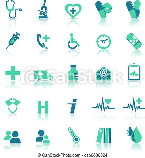 Health care Icons in medical green - csp6830824