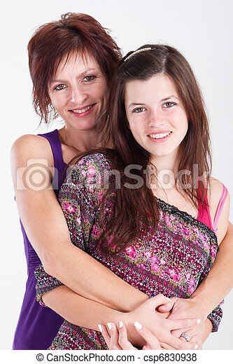 mid aged mom and teen daughter - csp6830938