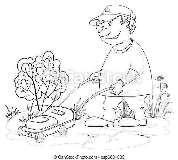 Lawn Mower Drawings Lawn Mower Man Outline