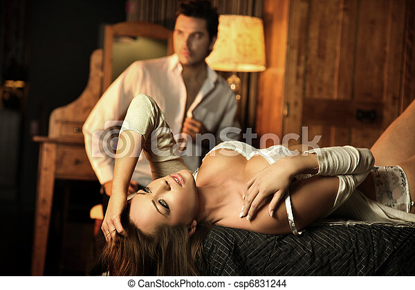 Sexy couple in an intimate situation - csp6831244