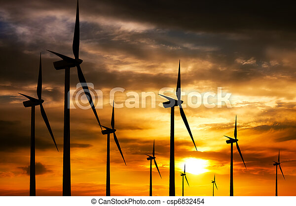 Wind farm at sunset - csp6832454