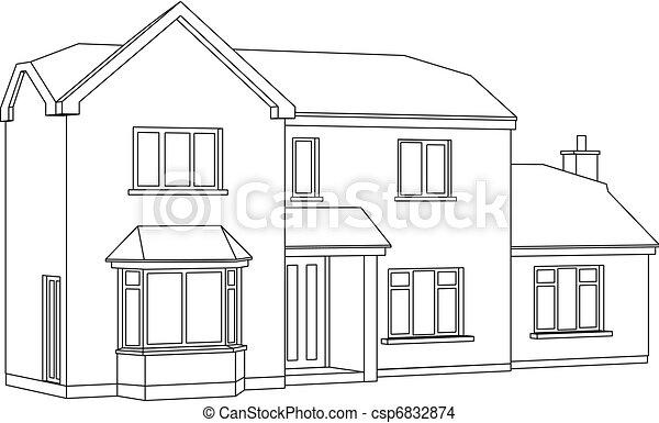 Vecteur Eps De Maison Perspective A 3d Deux Point Perspective Csp6832874 Recherchez