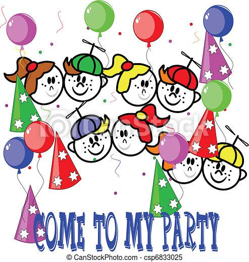 clipart vektor von party, kinder, einladen - einladung, von, Einladungen