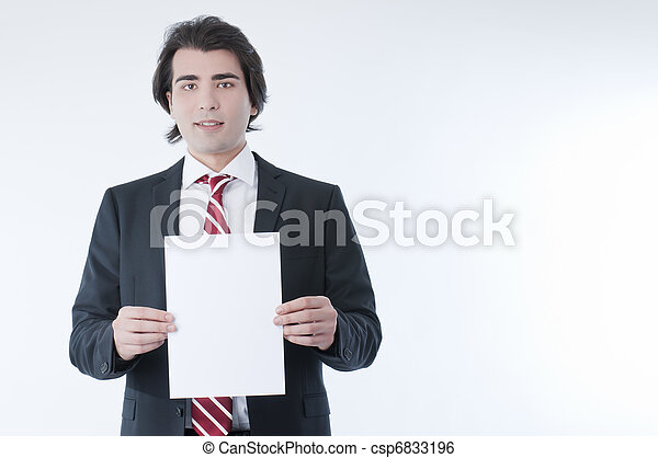 Businessman holdind an empty advert - csp6833196