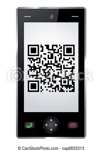 Handy with QR Code - csp6833313