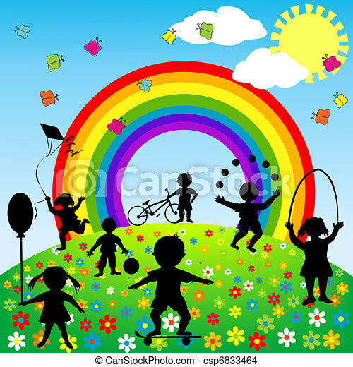Cute background with children silhouettes playing - csp6833464