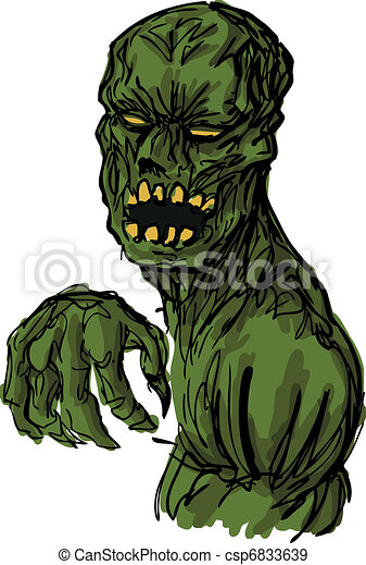 Scary undead zombie illustration - csp6833639