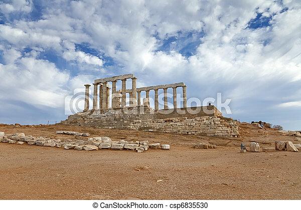 Ruins of Poseidon temple, Greece - csp6835530