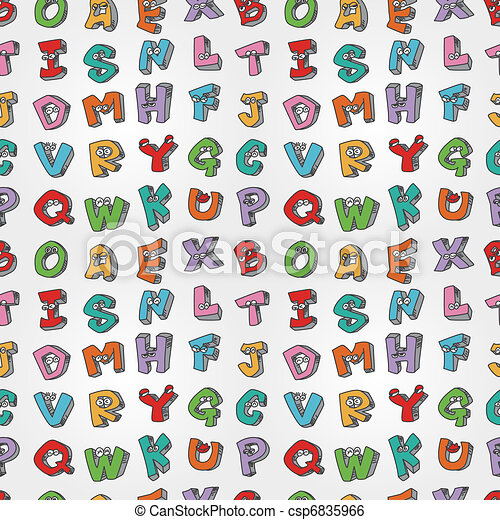 monster letters seamless pattern  - csp6835966