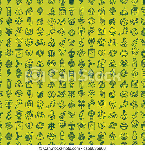 hand draw green eco seamless pattern - csp6835968