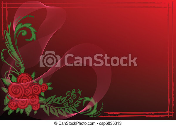 Business card with red roses - csp6836313