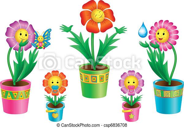 Set of cartoon flowers in pots - csp6836708