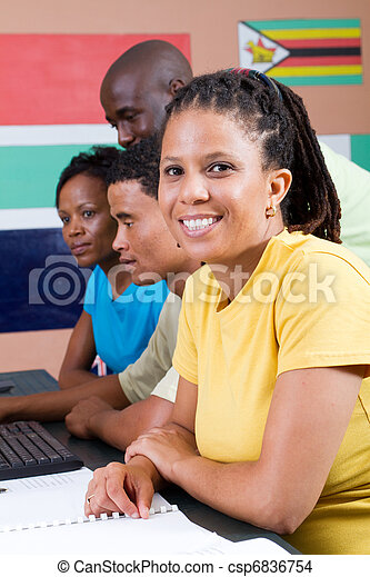 group of african students - csp6836754