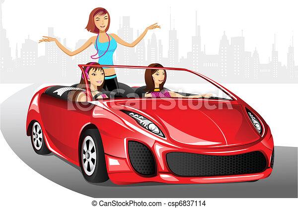 Urban Lady in Car - csp6837114