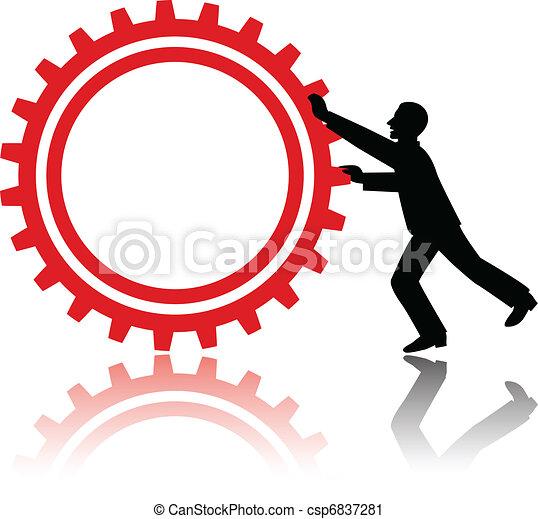 man pushing gear - csp6837281