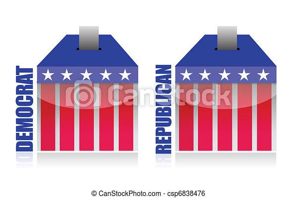 democrat vs republican ballot box  - csp6838476