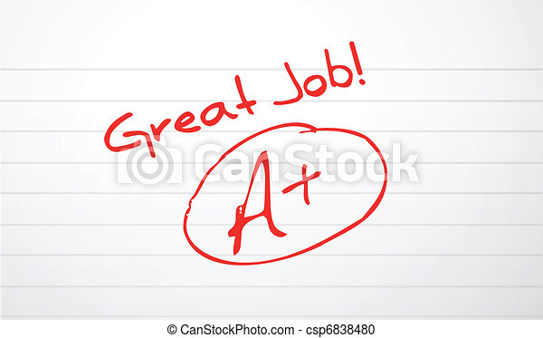 Good work paper grading in red ink  - csp6838480