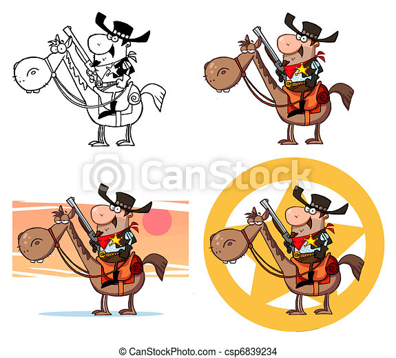 Western Sheriff On A Horse - csp6839234