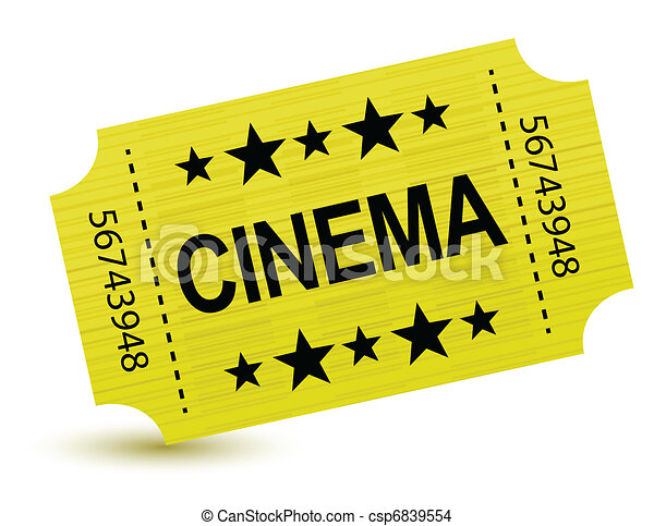 Yellow cinema ticket illustration  - csp6839554