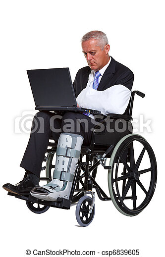 Injured businessman on laptop in a wheelchair isolated - csp6839605