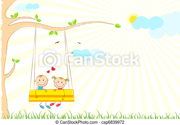Kids enjoying Swing Ride - csp6839972