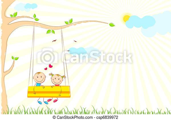 Kids enjoying Swing Ride - csp6839972