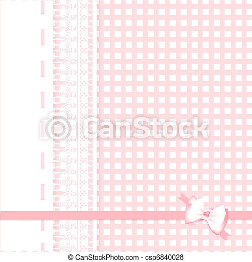 lace frame at plaid fabric background - csp6840028