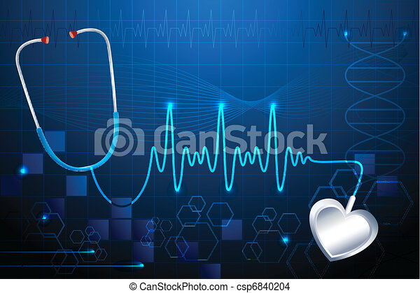 Stethescope showing Heart Beat - csp6840204