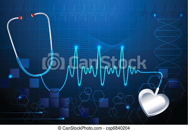 Stethescope showing Heart Beat - csp6840204