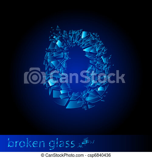 Broken glass - digit zero - csp6840436