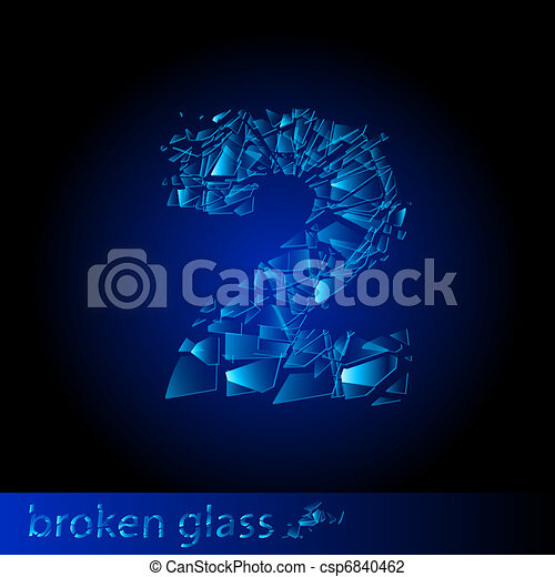 Broken glass - digit two - csp6840462