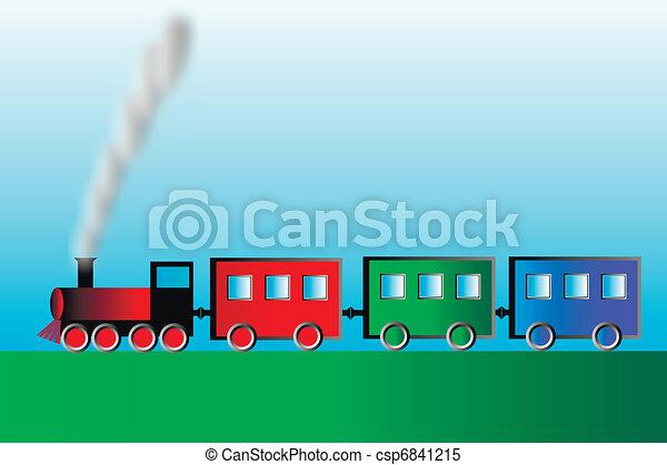 Steam locomotive with wagons - csp6841215