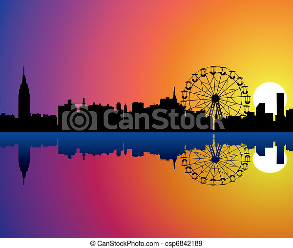 vector city background with reflection in water - csp6842189