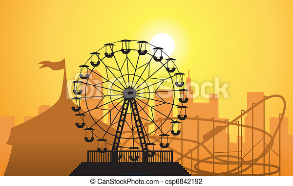 vector silhouettes of a city and amusement park - csp6842192