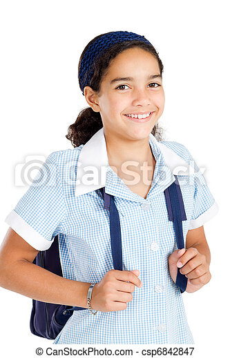 preteen schoolgirl wearing uniform - csp6842847