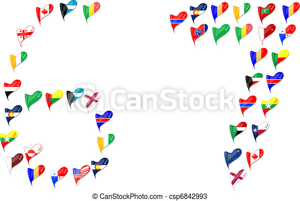 Vectors of world country heart flag Number 6 7 - Number 6 and 7 ...