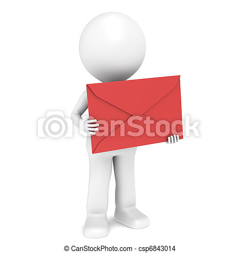 3D Little Human Character holding a Red Envelope - csp6843014