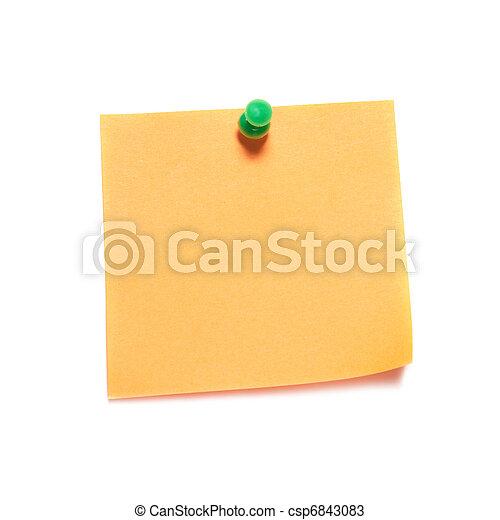 Orange note with tack - csp6843083