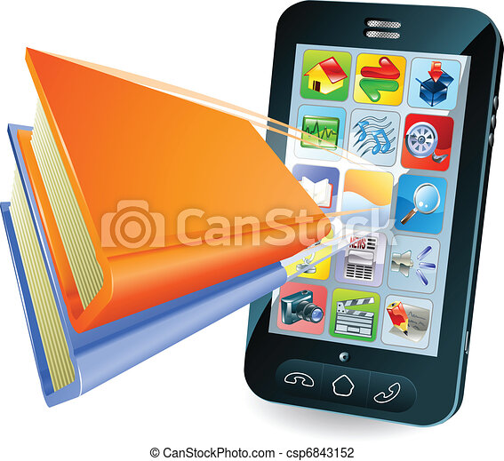 Smartphone book concept - csp6843152