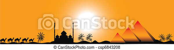 Sunset in Egypt, panorama - csp6843208