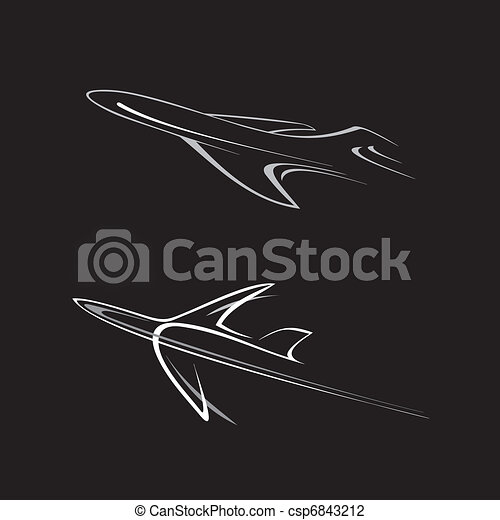 Illustration vecteur de avion flying avions stylis vecteur illustration csp6843212 - Dessin avion stylise ...