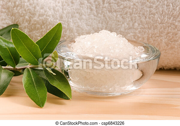 Sea Salt With Fresh Olive Branch. Spa And Wellness  - csp6843226