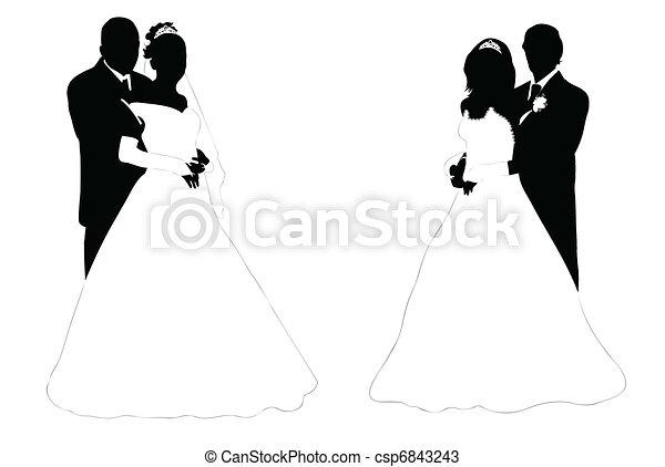 vecteurs de couple mariage mariage couple silhouette isol sur csp6843243. Black Bedroom Furniture Sets. Home Design Ideas