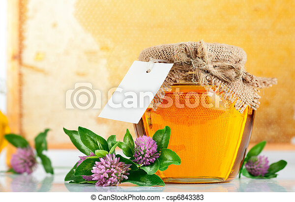 sweet honey in glass jars with flowers - csp6843383