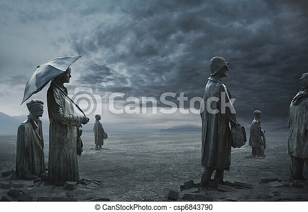 fine art photo of fossilized people  - csp6843790